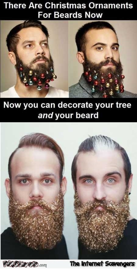 Funny Christmas ornaments for beards @PMSLweb.com