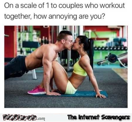 On a scale of 1 to couples who workout together funny meme @PMSLweb.com