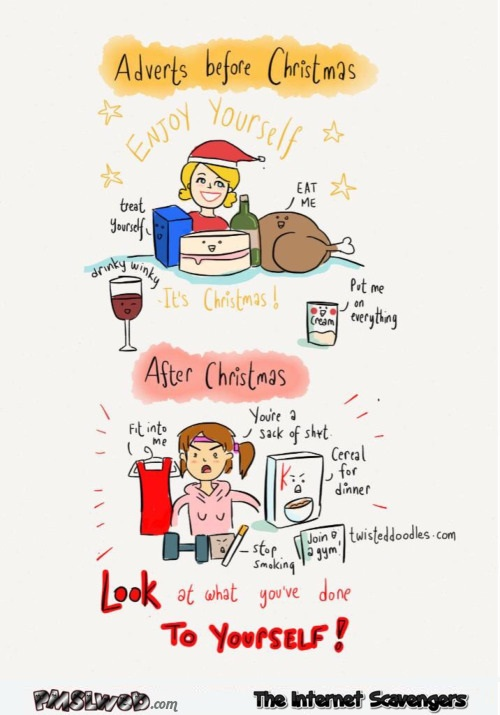 Adverts before and after Christmas humor @PMSLweb.com