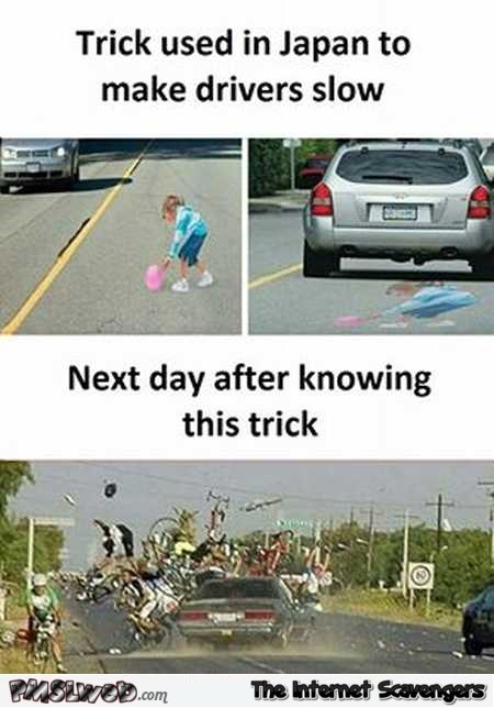 Trick used in Japan to make drivers slow down funny meme @PMSLweb.com