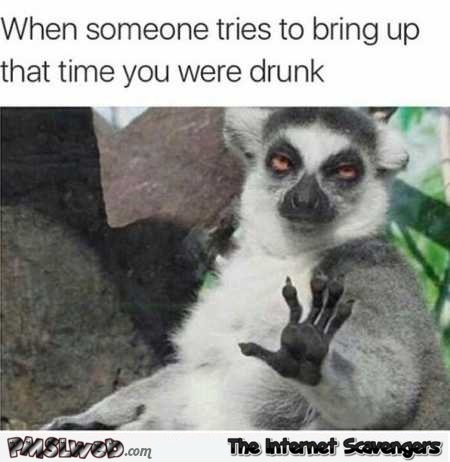 When someone tries to bring up that time you were drunk funny meme @PMSLweb.com