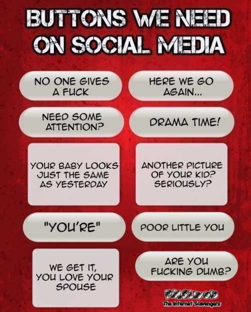 Buttons we need on social media humor @PMSLweb.com