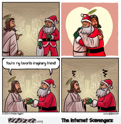 Funny Jesus and Santa imaginary friends cartoon @PMSLweb.com