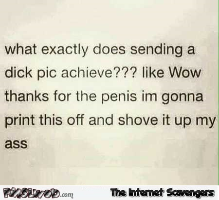 What does sending a dick pic achieve adult humor @PMSLweb.com