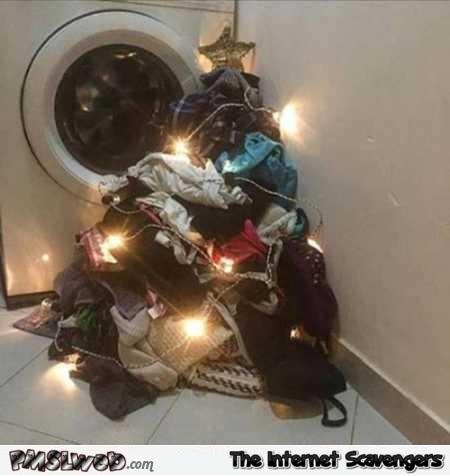 Funny laundry Christmas tree @PMSLweb.com