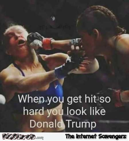 When you get hit so hard you look like Trump humor