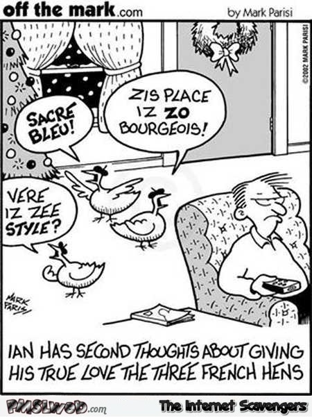Three French hens funny cartoon @PMSLweb.com