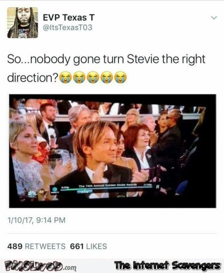 Can someone please turn Stevie Wonder the right way funny tweet @PMSLweb.com