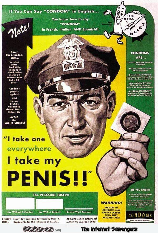 Funny vintage condom advertising poster @PMSLweb.com