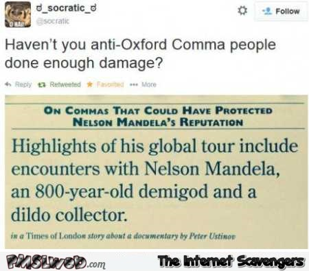 Anti Oxford comma people funny tweet