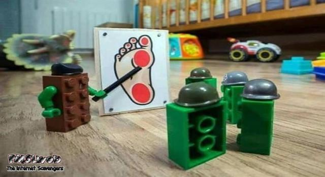 Lego briefing about the human foot humor @PMSLweb.com