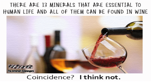 All minerals essential to human life can be found in wine meme
