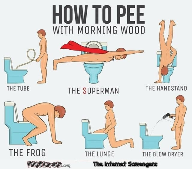 How to pee with morning wood funny guide @PMSLweb.com