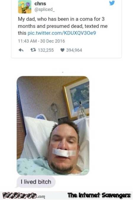 Dad woke up from a coma funny text message @PMSLweb.com