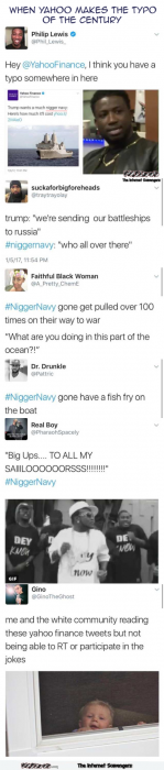 Funny Yahoo typo nigger navy reactions