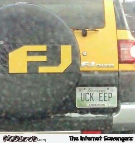 Funny suggestive number plate - Sunday chuckles collection @PMSLweb.com
