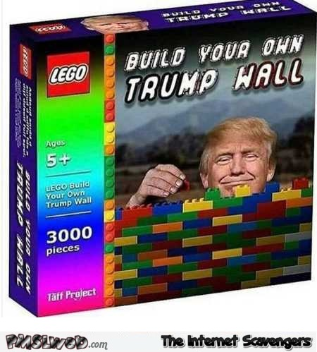 Funny lego blocks build your own Trump wall @PMSLweb.com