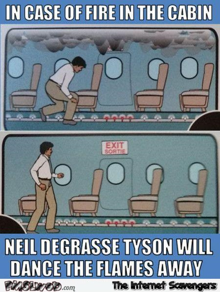 Airplane security guidelines funny Neil deGrasse Tyson meme @PMSLweb.com