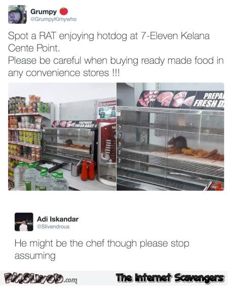 Spotted a rat at 7-eleven funny tweet - Jocular daily pics and memes @PMSLweb.com
