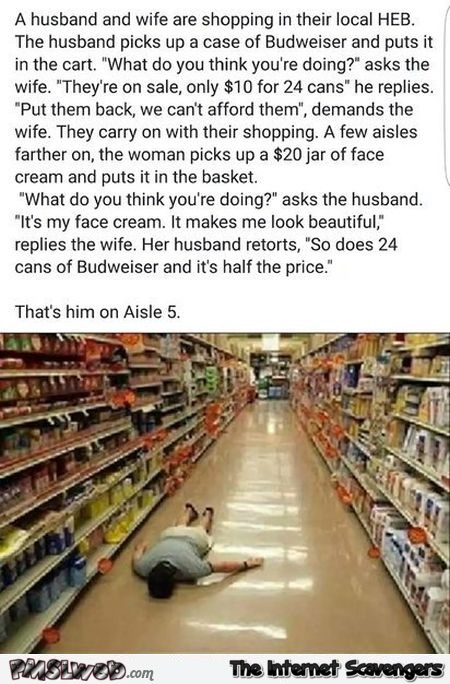 A husband and wife do their shopping joke - Sunday laughter collection @PMSLweb.com