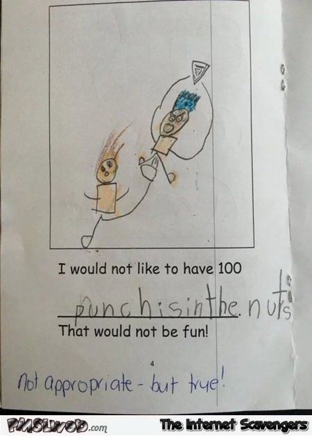 Punches in the nuts funny kid's drawing - Daily memes and funny pics @PMSLweb.com