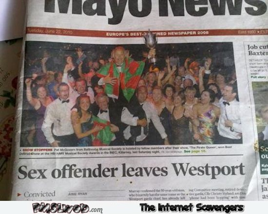 Sex offender leaves Westport funny news placement fail @PMSLweb.com
