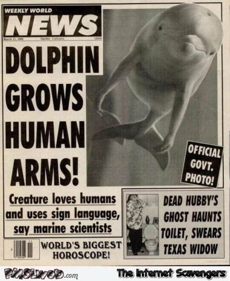 Dolphin grows human arms funny news article @PMSLweb.com