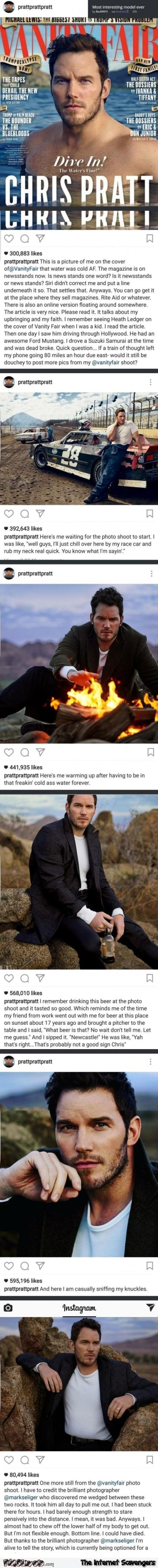 Funny Chris Pratt comments on Vanity Fair photo shooting @PMSLweb.com