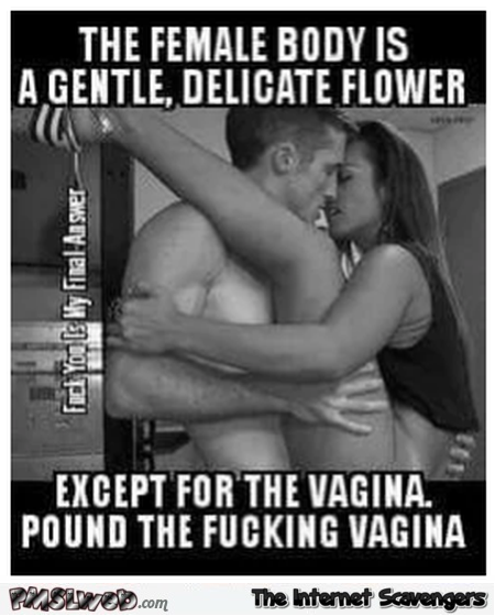 The female body is a gentle delicate flower funny adult meme - NSFW adult humor @PMSLweb.com