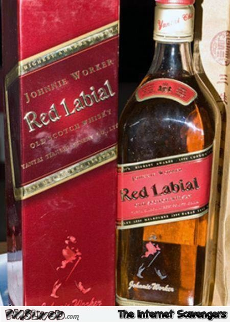 Funny red labial whisky - Funny picture boulevard @PMSLweb.com