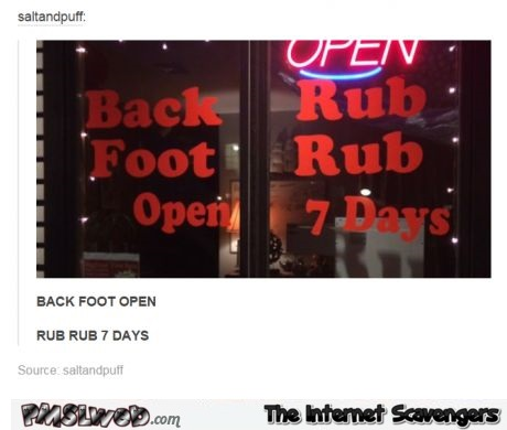 Funny back and foot rub sign fail  @PMSLweb.com