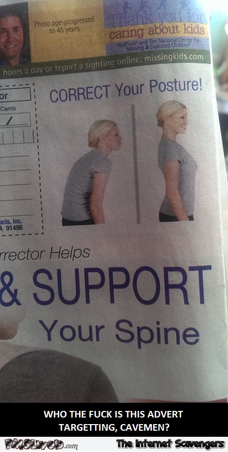 Funny spine support advertising fail @PMSLweb.com