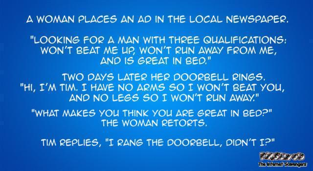 A woman places an ad in the local newspaper joke