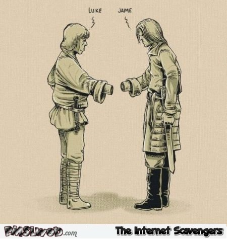 Luke Skywalker and Jaime Lannister shaking hands funny cartoon @PMSLweb.com