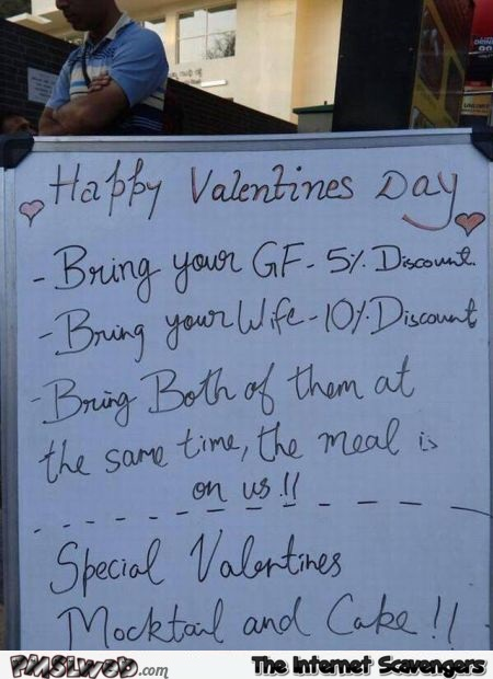 Funny Valentine's day restaurant sign