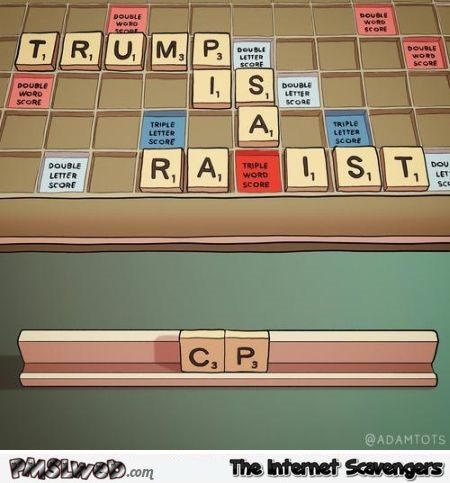 Trump in scrabble dilemma funny cartoon