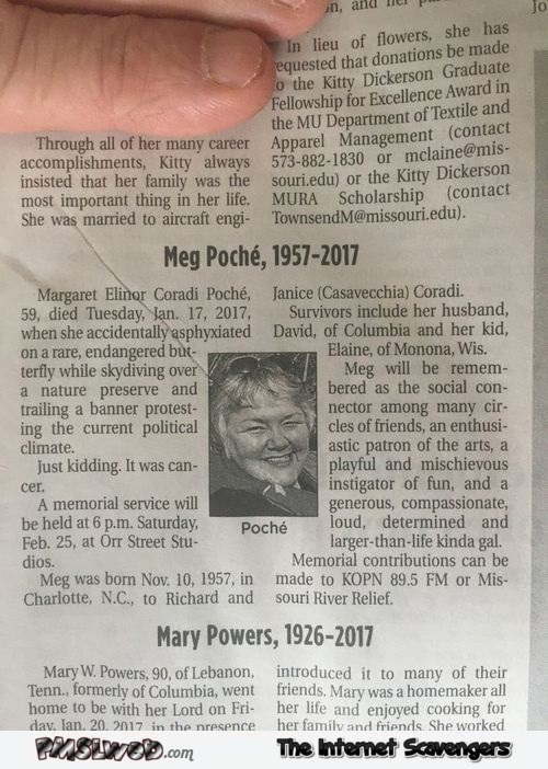 Hilarious news obituary @PMSLweb.com