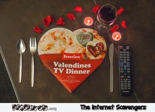 Valentine's TV dinner for one humor @PMSLweb.com