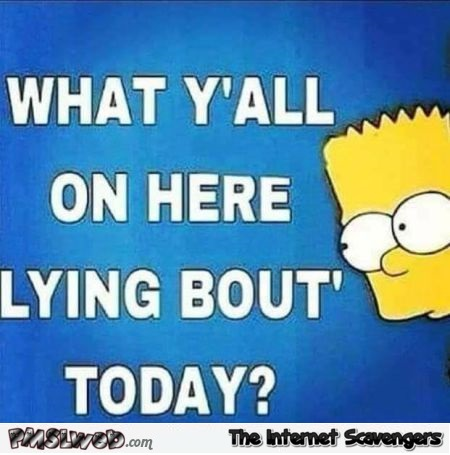 What are you all on here lying about today sarcastic humor - LOL memes and pictures @PMSLweb.com
