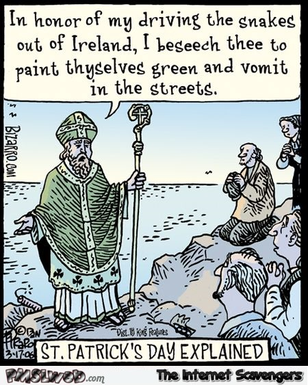 St Patrick's day explained funny cartoon @PMSLweb.com