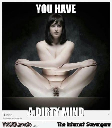You have a dirty mind illusion funny meme @PMSLweb.com