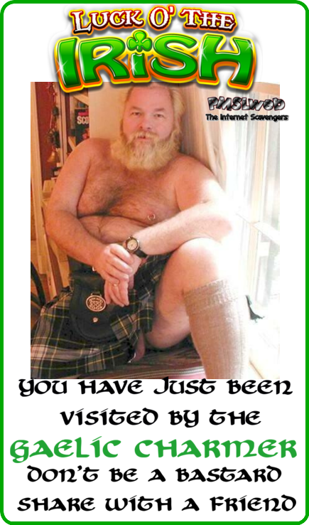 You have been visited by the Gaelic charmer - St Patricks Day humor @PMSLweb.com