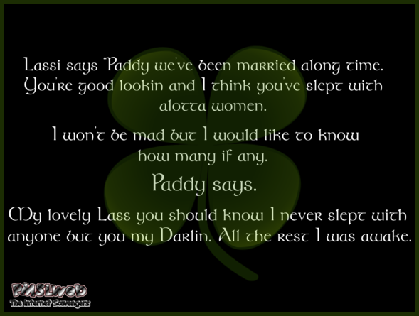 Funny Lassi and Paddy joke - St Patricks Day humor @PMSLweb.com