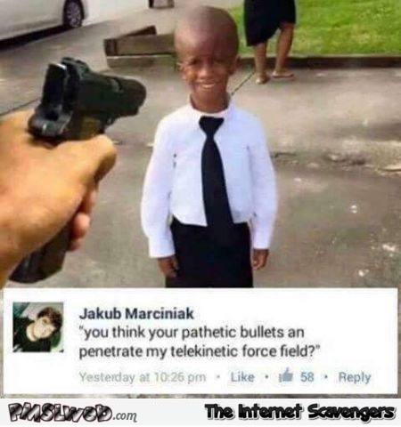 Kid with telekinetic force field funny comment @PMSLweb.com