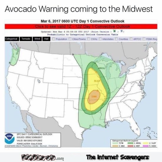 Funny avocado weather warning @PMSLweb.com