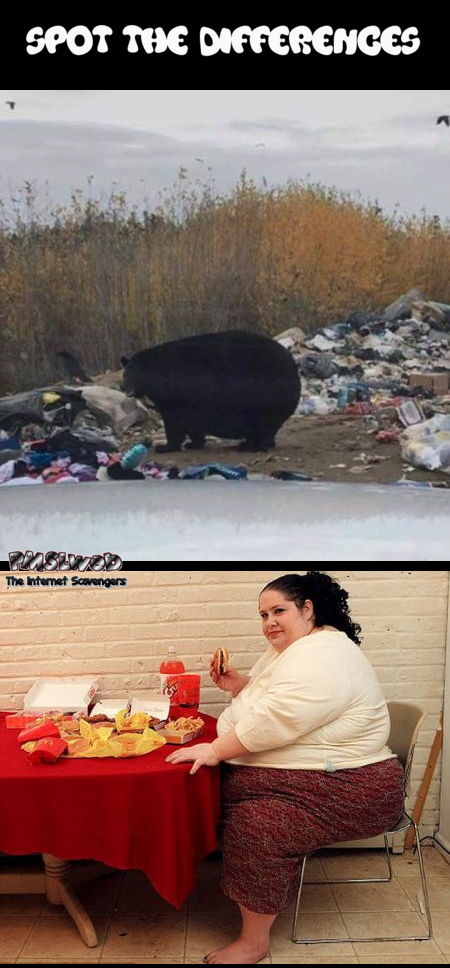You are what you eat bear versus woman humor @PMSLweb.com