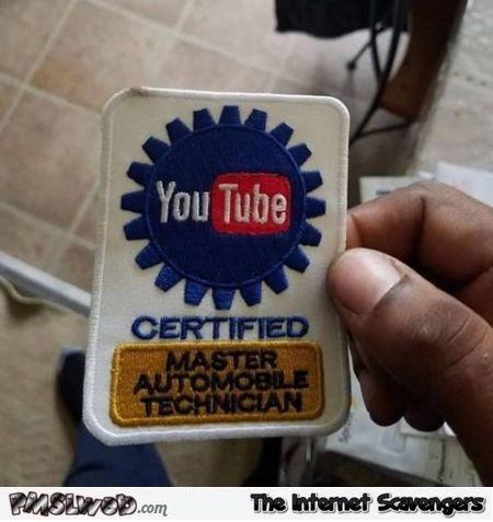 Certified Youtube master automobile technician funny badge @PMSLweb.com