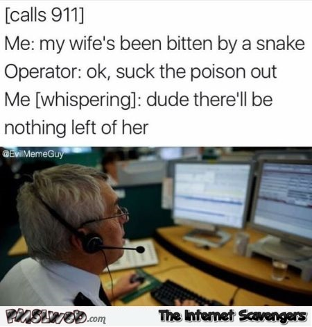 My wife has been bitten by a snake funny sarcastic meme - Sarcastic and funny pictures @PMSLweb.com