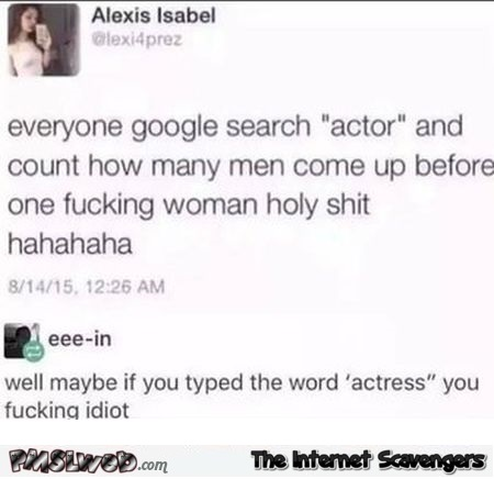 When you search for actor on Google funny comment @PMSLweb.com