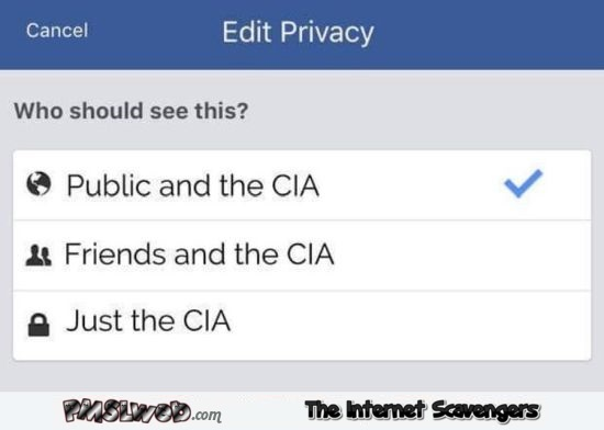 CIA on Facebook humor @PMSLweb.com